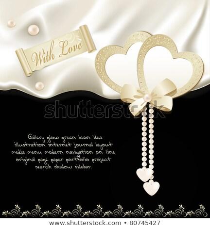 Seda preto coração valentine dia vetor Foto stock © saicle