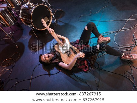 Rock girl with guitar, high angle view  Stock photo © Elisanth