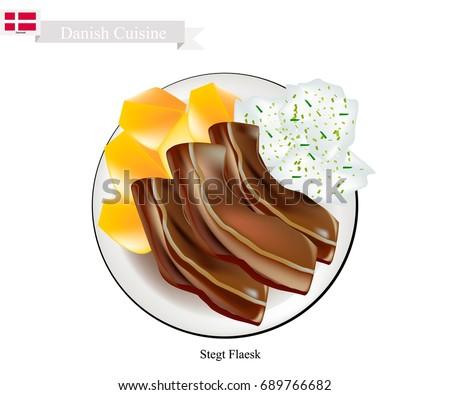 Schotel varkensvlees buik peterselie saus Stockfoto © Klinker