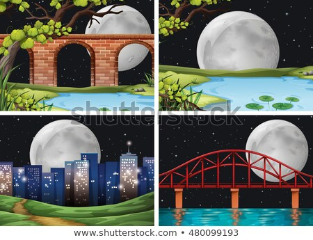 Four scenes of city on fullmoon night Stock photo © bluering