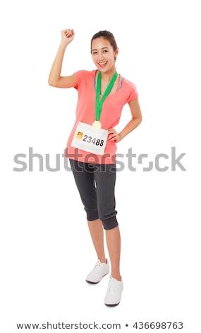 középső · rész · női · atléta · arany · medálok · stadion - stock fotó © elnur