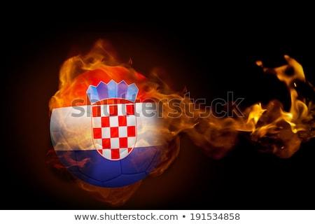 Futball lángok zászló Horvátország fekete 3d illusztráció Stock fotó © MikhailMishchenko