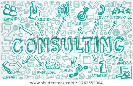 business solutions   doodle green word business concept stock photo © tashatuvango