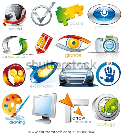 Eco 3D glanzend vector icon ontwerp Stockfoto © rizwanali3d
