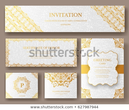 Set of Luxury Gold artistic pages with logo brochure template. Vintage art identity, floral, magazin Stock photo © Linetale