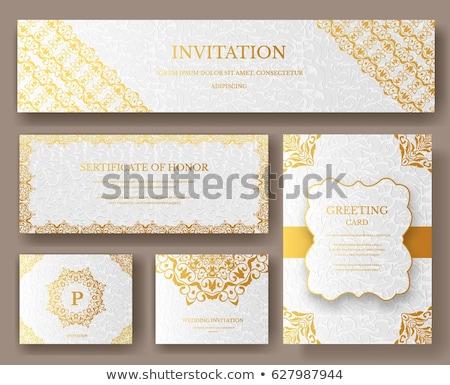 Conjunto luxo ouro artístico logotipo Foto stock © Linetale
