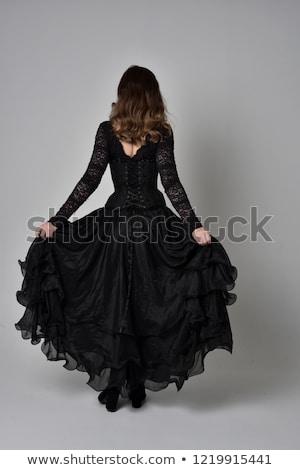 Young brunette wearing white dress Stock photo © acidgrey
