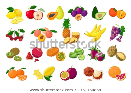 Papaya and Citron Kiwano Set Vector Illustration Stock photo © robuart