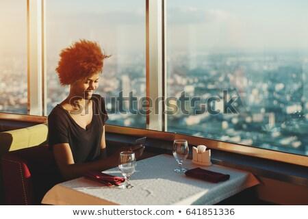 Cute красивой подростку сидят окна комнату Сток-фото © ruslanshramko