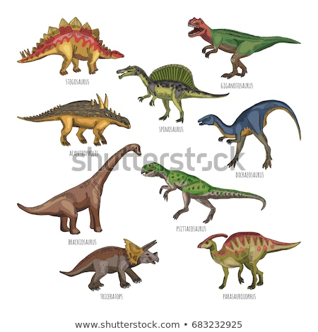 Animal outline for different types of dinosaurs Stock photo © colematt