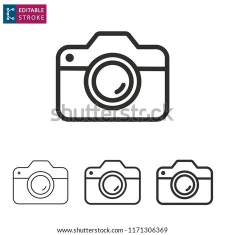 Camera lijn icon vector geïsoleerd witte Stockfoto © smoki