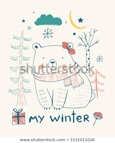 Kid Girl Polar Bear Snow Stock photo © lenm