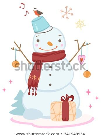 Snowman zimą wakacje wiadro hat Zdjęcia stock © robuart