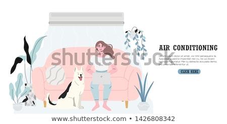 Trabalhar ar fresco vetor bandeira mulher laptop Foto stock © robuart