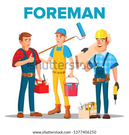 Character Foreman Staff Renovation Team Vector Stock fotó © pikepicture