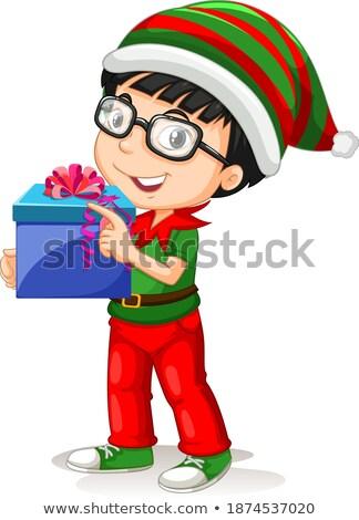 Zielone odzież okulary festiwalu zestaw chłopca Zdjęcia stock © toyotoyo