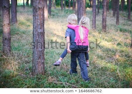 Kardeş kardeş omzunda orman çocuklar okul Stok fotoğraf © Lopolo