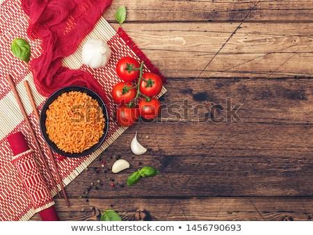 Czarny tablicy puchar ryżu pomidorów bazylia Zdjęcia stock © DenisMArt