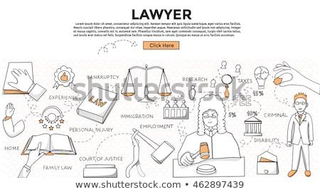 Photo stock: Droit · dessinés · à · la · main · modèle · tribunal · bâtiment · loupe
