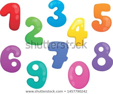 Estilizado números conjunto escolas arte educação Foto stock © clairev
