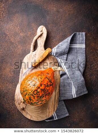Abóboras enferrujado guardanapo fundo laranja Foto stock © furmanphoto
