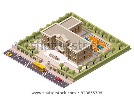 Okul Bina mimari stadyum 3D izometrik Stok fotoğraf © orensila