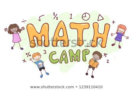 Kinder math Lager Illustration Mädchen Schule Stock foto © lenm