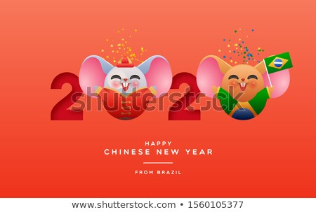 Chiński nowy rok zabawy Brazylia szczur cartoon karty Zdjęcia stock © cienpies