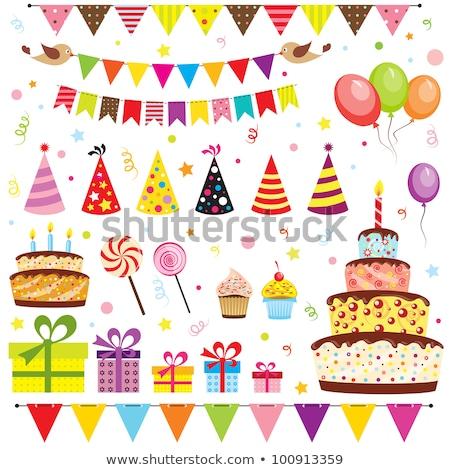 Doğum günü partisi model renkli mumlar kek Stok fotoğraf © artjazz