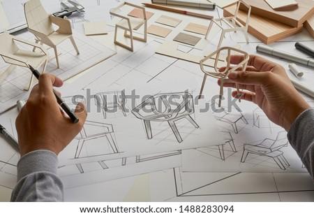 Mobiliário produção trabalhador madeira superfície mão Foto stock © olira