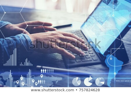 Stock photo: Man with computer in dock