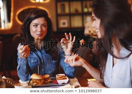 femme · déjeuner · restaurant · verre · vin · rouge - photo stock © photography33