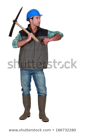construction worker leaning on a pickaxe stock photo © photography33