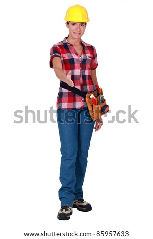 Woman laborer stretching her hand for greeting Stock photo © photography33