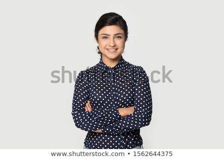 Gyönyörű üzlet lány fiatal lány áll izolált Stock fotó © gorgev