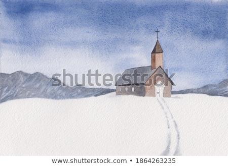 Küçük kilise küçük kilise İtalya çim Stok fotoğraf © Antonio-S