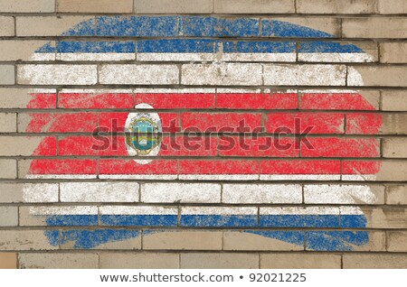 Flag Of Costarica On Grunge Brick Wall Painted With Chalk Foto stock © vepar5