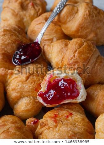 Stockfoto: Croissant · frambozen · vruchten · cake · ontbijt · witte