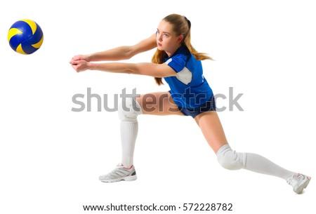 mulher · jogar · voleibol · bola · de · volta · dois - foto stock © dash