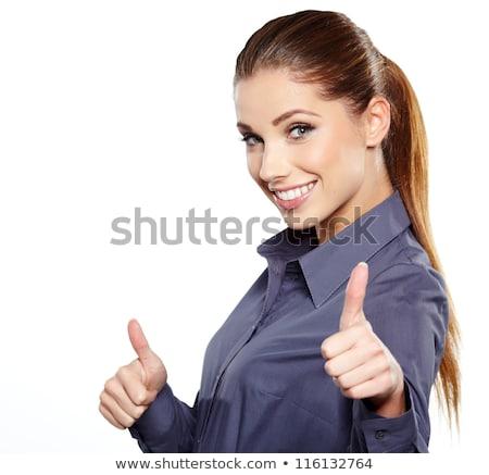 boldog · mosolyog · üzletasszony · ok · kézjel · fehér - stock fotó © rozbyshaka