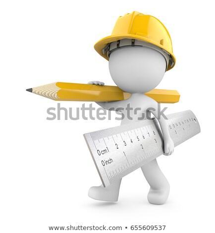 3D pequeño hombre lápiz blanco persona Foto stock © karelin721