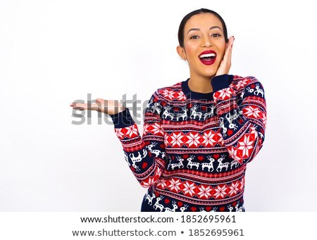 gyönyörű · mikulás · karácsony · lány · kéz · fehér - stock fotó © vlad_star