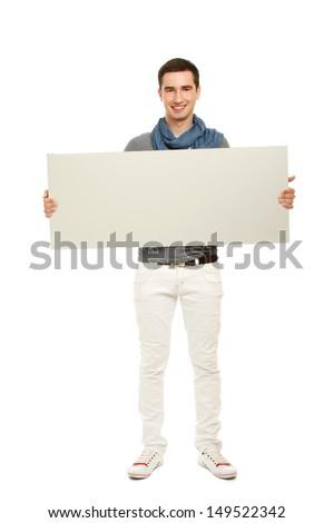 smart boy holding an empty white poster Stock photo © meinzahn