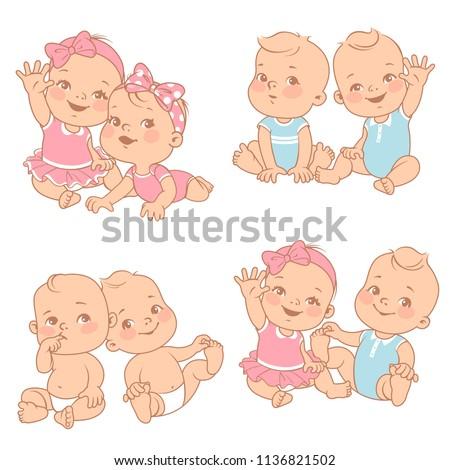 はがき 双子 女の子 赤ちゃん 子 ストックフォト © sognolucido