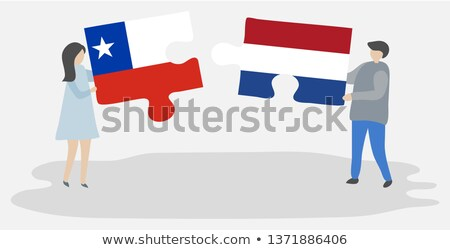 Hollandia Chile zászlók puzzle izolált fehér Stock fotó © Istanbul2009