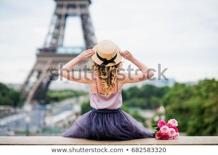 Parijs · vrouw · frans · vlag · Eiffeltoren - stockfoto © adrenalina