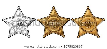 Badge zwarte metaal justitie star criminaliteit Stockfoto © leonido
