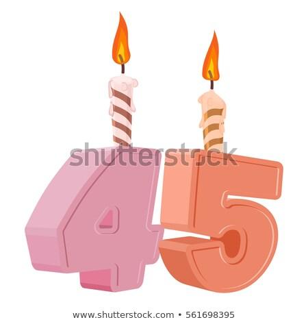 Birthday cake with burning candle number 45 Stock photo © Zerbor