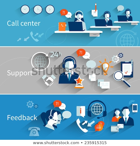 Support web banners with operators from call center Stock photo © LoopAll