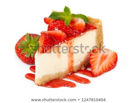 Taze strawberry cheesecake eski ahşap meyve kek kırmızı Stok fotoğraf © mady70